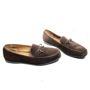 Lands End Brown Suede Leather Loafers Flats Size 9